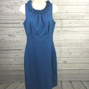 J.Crew Womens Cobalt Blue Wool Sheath Dress Ruffle